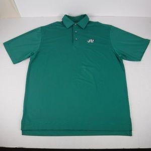 FootJoy Mens Large Green Striped Golf Polo Shirt